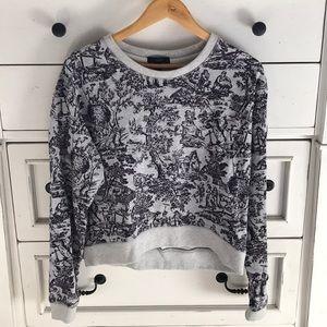 J Crew toile print cropped sweatshirt